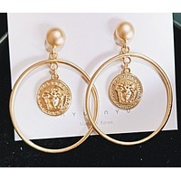 Versace Fashion New Human Head Circle Long Earring Golden