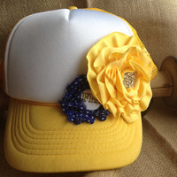 FFA Mello Yellow Button and Bling Trucker Mid-rise SnapBack