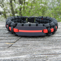 Firefighter Thin Red Line Paracord Bracelet