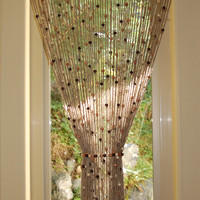 Natural Jute crochet curtain door / window with wooden beads custom sizes available. Tie back (s)included. All natural, hand made in 3 weeks