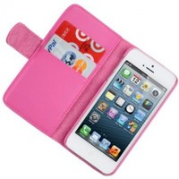 iPhone 5s Wallet Case, iPhone 5 Leather Case, CellJoy [Leather Hybrid] with Credit Card Money Slots, Kick Stand (Hot Pink)