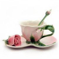 Cup/Saucer/Spoon Set - Pink Rose Design (981035) - Product Information Lookup - Tea Centre