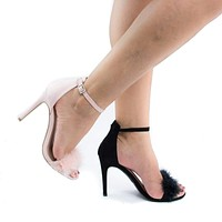 Berlin127 By Wild Diva, Fluffed Faux Feathered Stiletto Heel Sandals