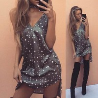 Print Spaghetti Strap Dress Hot Sale Summer V-neck One Piece Dress [10290572551]