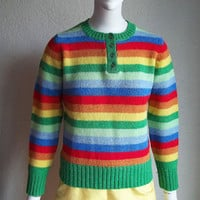 Vintage 60s Rainbow Stripe Shetland New Wool Ski Sweater Sz34 S B35 ASTON