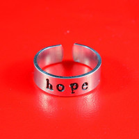 Hope Ring - Hand Stamped Aluminum Ring,  Adjustable Skinny Ring, Have a Hope