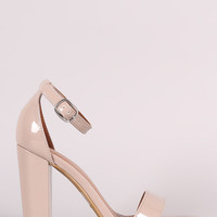 Bamboo Patent Ankle Strap Chunky Heel