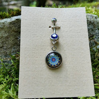 Blue Crystal Blue Lotus Boho Belly Ring, Mandala, Hippie Belly Ring, Bohemian Belly Ring, Boho Navel Ring, Boho Belly Button Ring