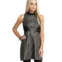BCBGeneration Cutout Jacquard A-Line Dress - Silver/Multi