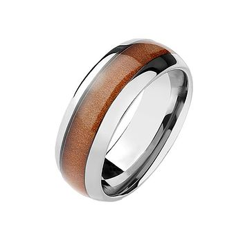 Merbau - Men's Tisten Alloy Ring With Classic Dome Wood Inlay Center