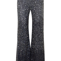 Jenny Packham - Estella embellished tulle straight-leg pants