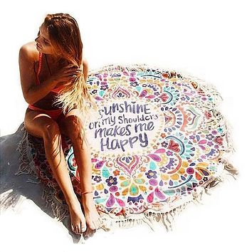 Hippie Round Mandala Tapestry Swimsuit Cover Ups Swim Towel Bathing Suit Cover-ups Beach Mat Beach Blanket L38341
