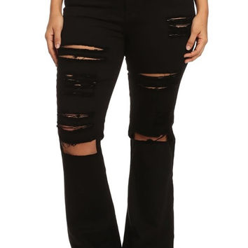 Distressed high rise flared twill pants with standard 5 pockets. Button and zipper closure.