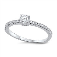 Sterling Silver Cute Round Solitare CZ Promise Ring Sz 4-10