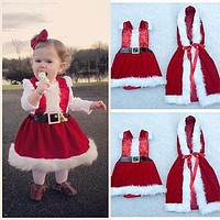 Christmas Infant Baby Girl Santa Dress Cloak Coat Party Christmas 2pcs Outfits Set Clothes Xmas Costume