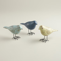 Wooden Birds with Wire Feet, Set of 3 - World Market