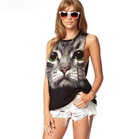 SIMPLE - Floral Round Necked Sleeveless Top Women Tank Vest b4720