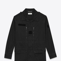 SAINT LAURENT MILITARY PARKA IN BLACK COTTON AND LINEN GABARDINE | YSL.COM