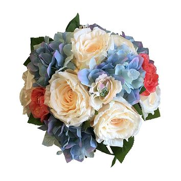 Large Bridal Bouquet - Peach and Coral Roses with Baby Blue Hydrangeas - Artificial Flowers