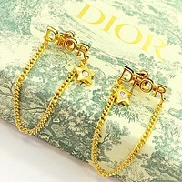 Dior New fashion letter diamond star long earring Golden