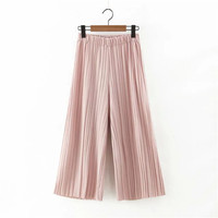 Summer Women's Fashion Korean Pleated Casual Pants [4919997508]