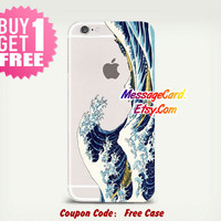 Sea Wave Clear Phone Case Cover for iPhone 6 6s plus , 6 6s , 5s 5 , 4s 4 , Pressed Clear iPhone 6 6s Case , Custom Clear iPhone 6 6s Case