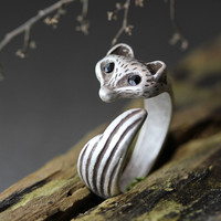 Fox Ring Women's Girl's Retro Burnished Animal Ring Jewelry 7.5US size Wrap Ring