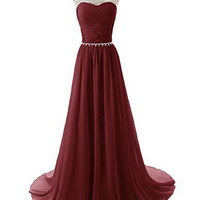 Burgundy Sweetheart Chiffon Long Prom Evening Dresses