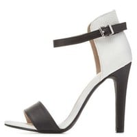 Color Block Single Strap Heels by Charlotte Russe