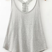 Grey Strappy Lace Backless Cropped Top