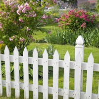 Printed White Picket Fence Backdrop - 454