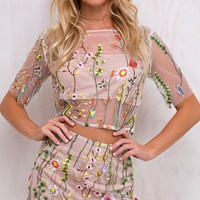 Power Of Suggestion Khaki Sheer Mesh Floral Pattern Elbow Sleeve Crop Top Two Piece Mini Dress