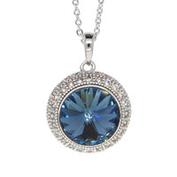 Dear Deer White Gold Plated Swarovski Elements Classic Blue Round CZ Pave Pendant Necklace
