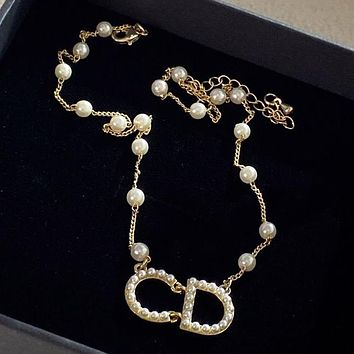 DIOR D home new golden cd letter pearl necklace simple temperament fashion necklace
