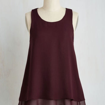 Minimal Mid-length Sleeveless A-line Show and Tier Top in Wine
