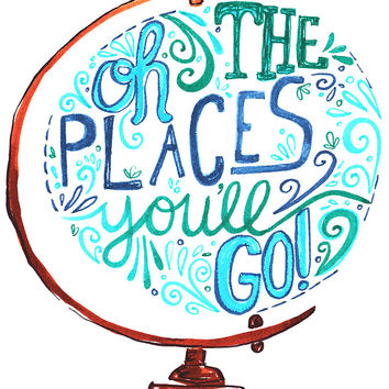 'Oh The Places You'll Go - Vintage Typography Globe' Sticker by Kit Cronk