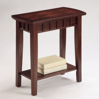 Traditional Chairside Table Diamond Paneled Top Home Furniture Espresso Finish