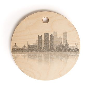 Restudio Designs Boston Skyline Reflection Cutting Board Round