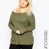 ASOS Curve | ASOS CURVE Top with Off Shoulder Detail in Slouchy Fabric at ASOS