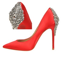 New Rhinestone High Heel Pumps Sexy Silk Surface Women's Shoes