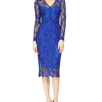 Lela Rose Floral-Embroidered Fit-And-Flare Combo Dress