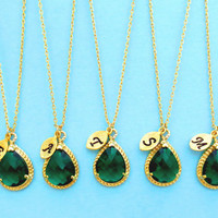 Set of 1-10 Emerald, Initial, Necklace, Bridesmaid, Initial, Necklaces, Glass, Drop, Single, Pendant, Necklaces,1-10 Bridesmaids, Necklaces