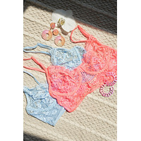 Baby Blue Floral Lace Cropped Cami Underwire Bralette