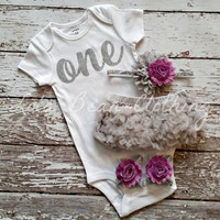 Baby Girl 1st Birthday Outfit Cake Smash Photography Props Silver One Onesuit Grey Bloomers Purple Barefoot Sandals Silver White