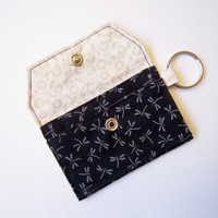 Mini key chain wallet/ simple ID Key chain / keychain coin purse / Business card holder / dragonfly  pattern