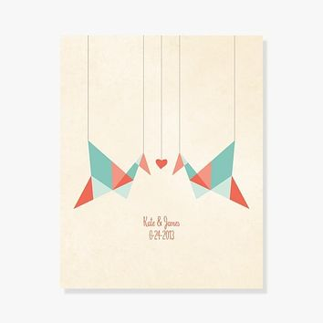 Origami Birds Personalized Art Print