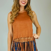 Jocelyn Faux Suede Sleeveless Fringe Tank