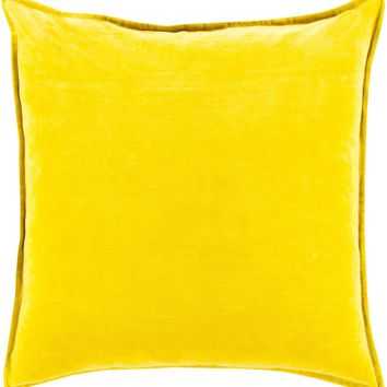 Cotton Velvet Throw Pillow Yellow