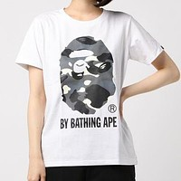 BAPE AAPE Summer Men Women Personality Luminous Print Short Sleeve T-Shirt Top Blouse