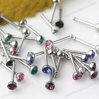 60PC Colourful Czech Crystal Stainless Steel Nose Ring Stud Fashion Piercing